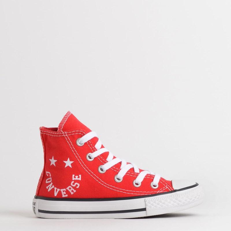 Tênis Converse Chuck Taylor All Star Kids Hi Vermelho Branco CK08310002