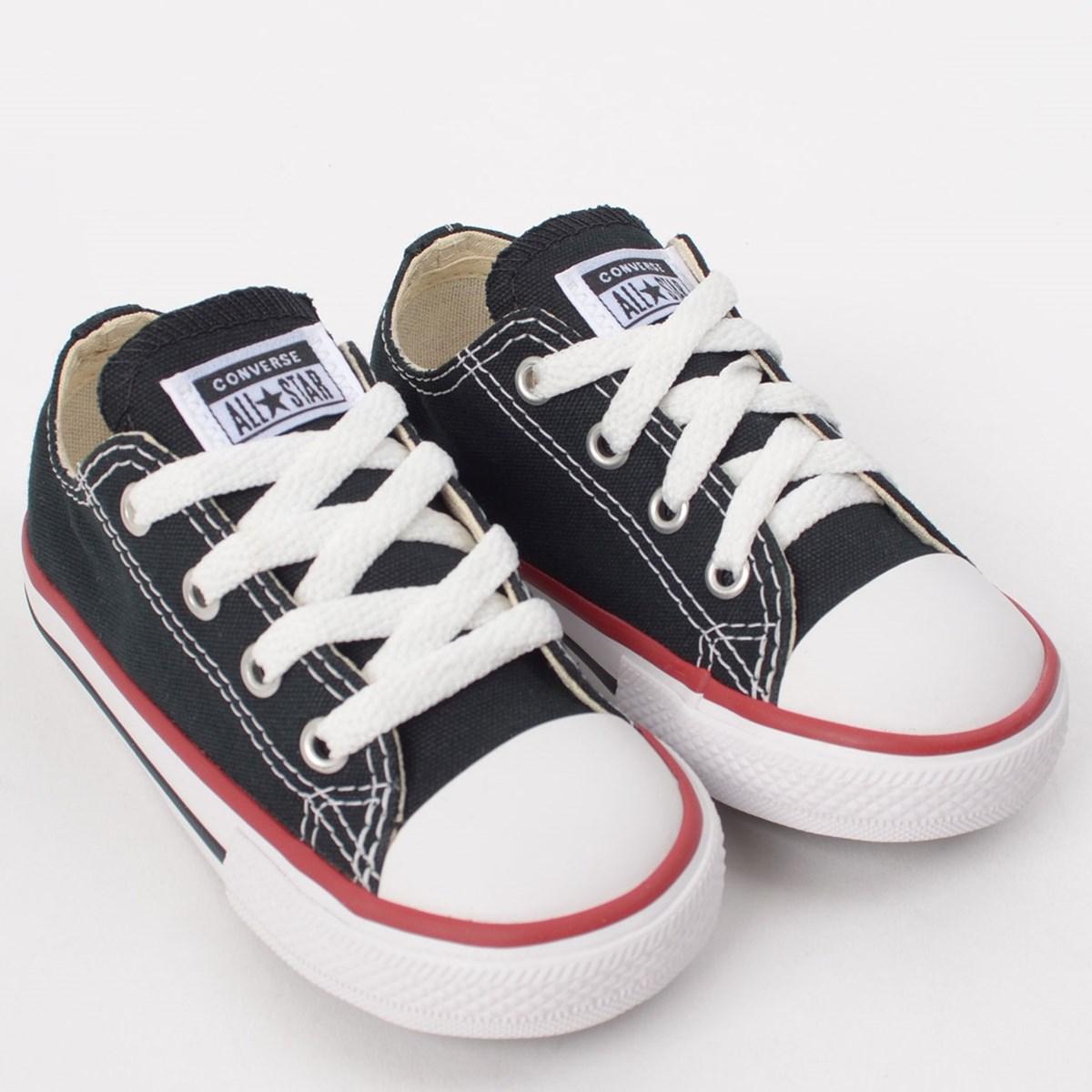 Tênis Converse Chuck Taylor All Star Kids Ox Preto Vermelho CK00010007