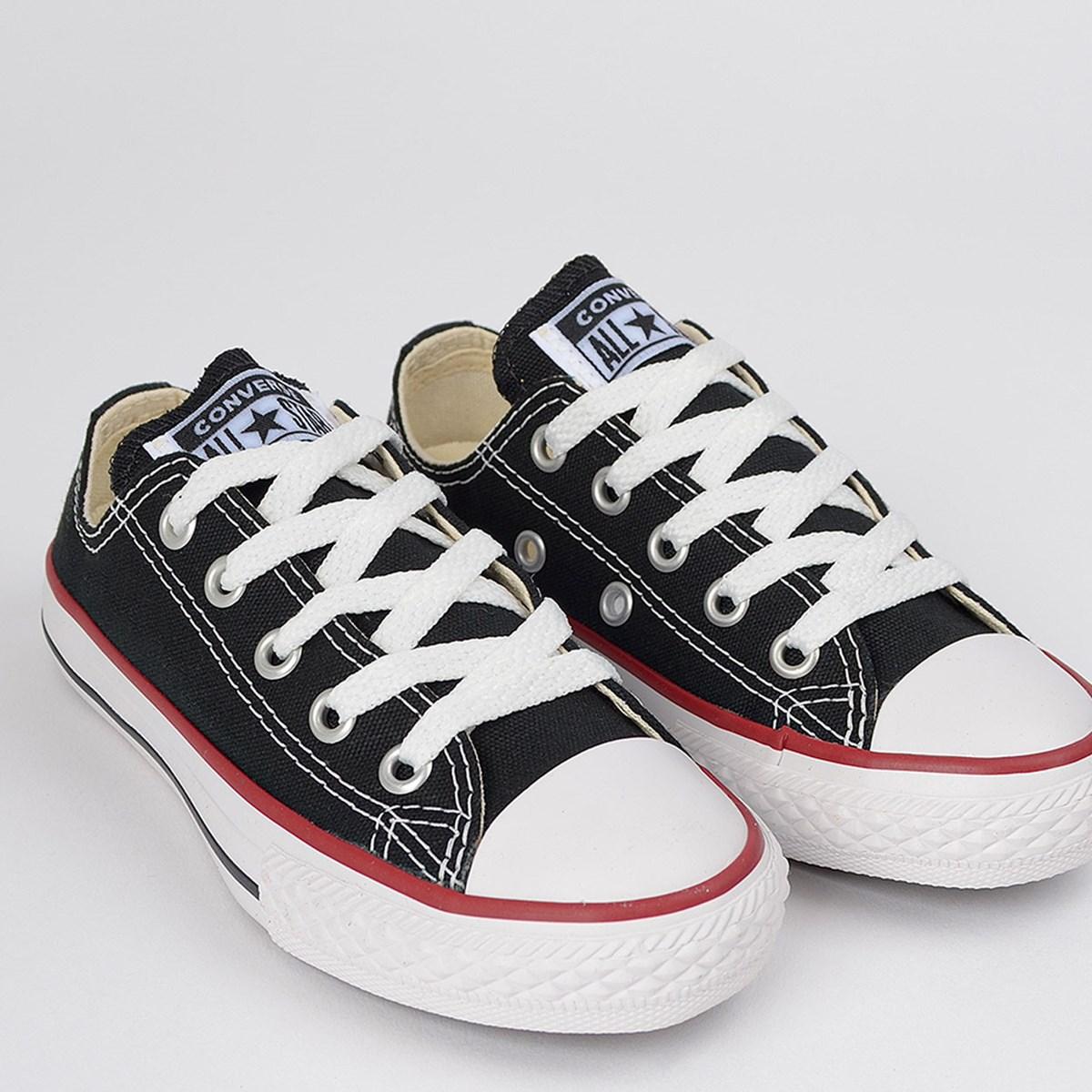 Tênis Converse Chuck Taylor All Star Kids Ox Preto Vermelho CK00020007
