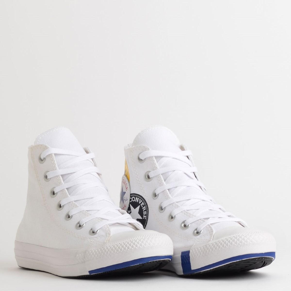 Tênis Converse Chuck Taylor All Star Logo Play Hi Branco Azul CT13230002