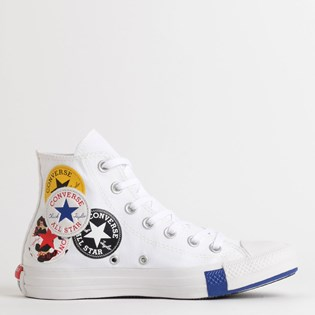 Tênis Converse Chuck Taylor All Star Logo Play Hi Branco Azul CT13230002