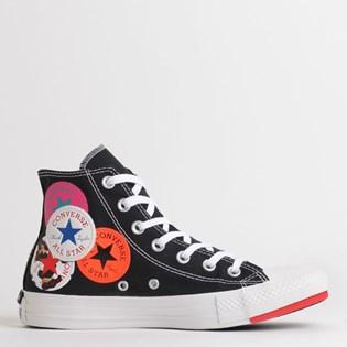Tênis Converse Chuck Taylor All Star Logo Play Hi Preto Vermelho CT13230001