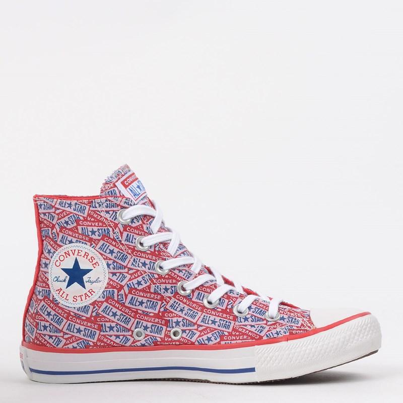 Tênis Converse Chuck Taylor All Star Logo Play Hi Vermelho Azul CT13150001