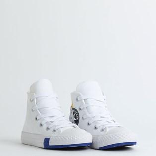 Tênis Converse Chuck Taylor All Star Logo Play Kids Hi Branco Azul CK08180002