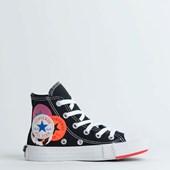Tênis Converse Chuck Taylor All Star Logo Play Kids Hi Preto Vermelho CK08180001