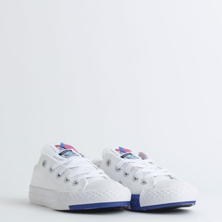 Tênis Converse Chuck Taylor All Star Logo Play Kids Ox Branco Azul CK08190002