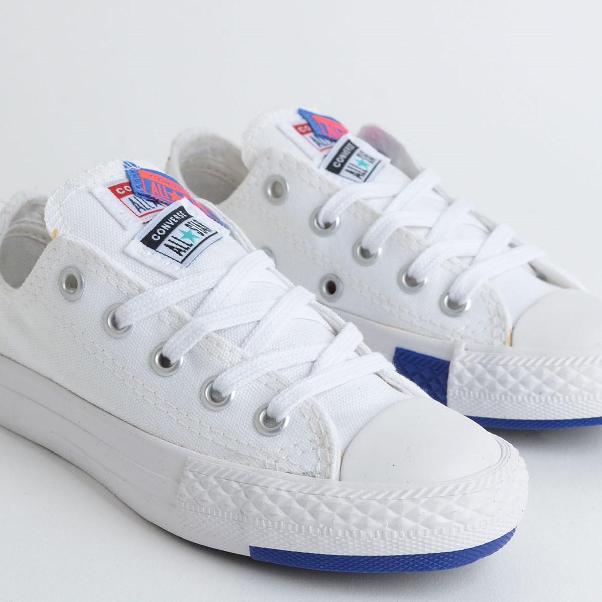Tênis Converse Chuck Taylor All Star Logo Play Kids Ox Branco Azul CK08190002