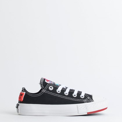 Tênis Converse Chuck Taylor All Star Logo Play Kids Ox Preto Branco CK08190001