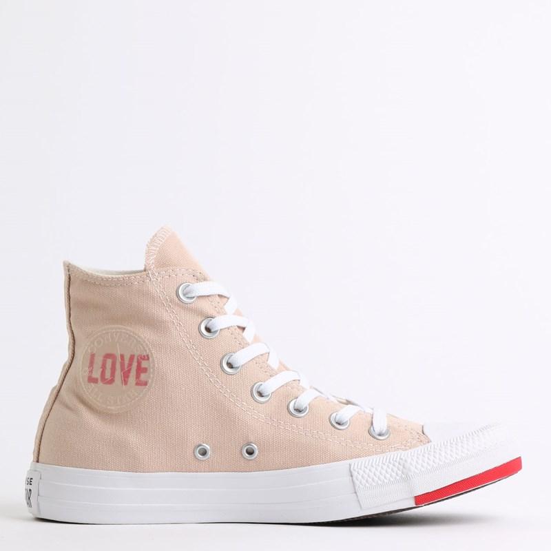 Tênis Converse Chuck Taylor All Star Love Fearlessly Hi Bege Vermelho CT13540001