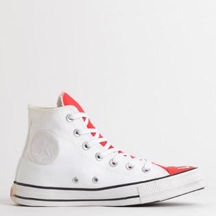 Tênis Converse Chuck Taylor All Star Love Fearlessly Hi Branco Vermelho CT13550001