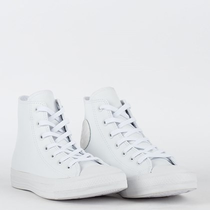 Tênis Converse Chuck Taylor All Star Monochrome Leather Hi Branco Branco CT08250001