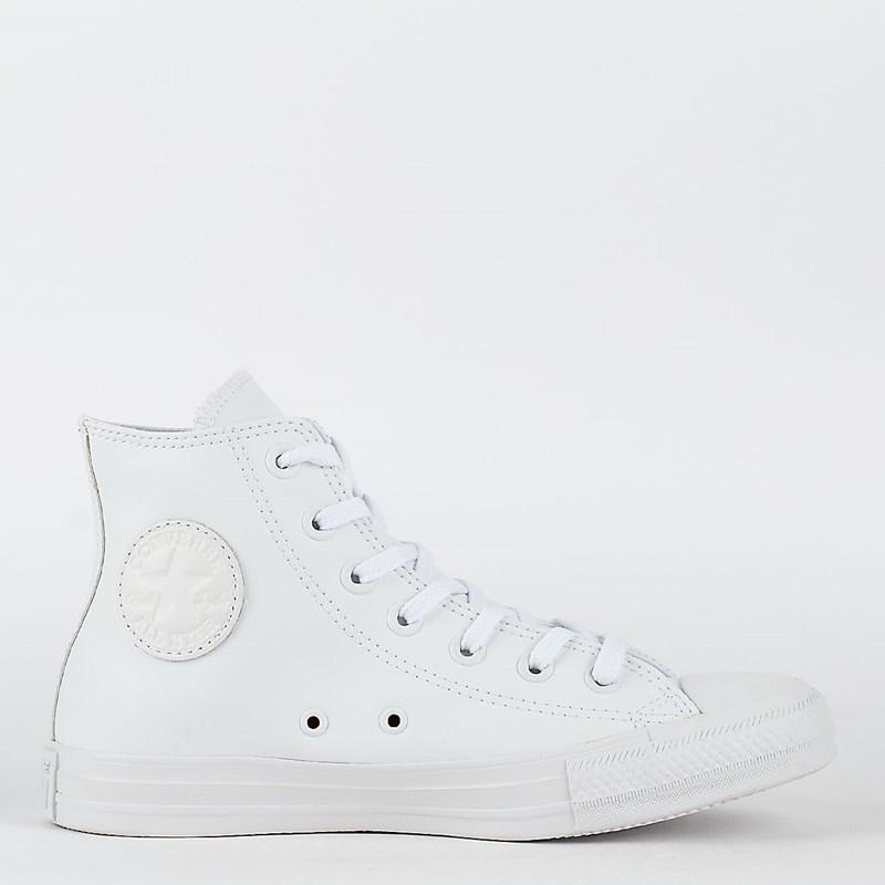 Tênis Converse Chuck Taylor All Star Monochrome Leather Hi Branco Branco CT08250001