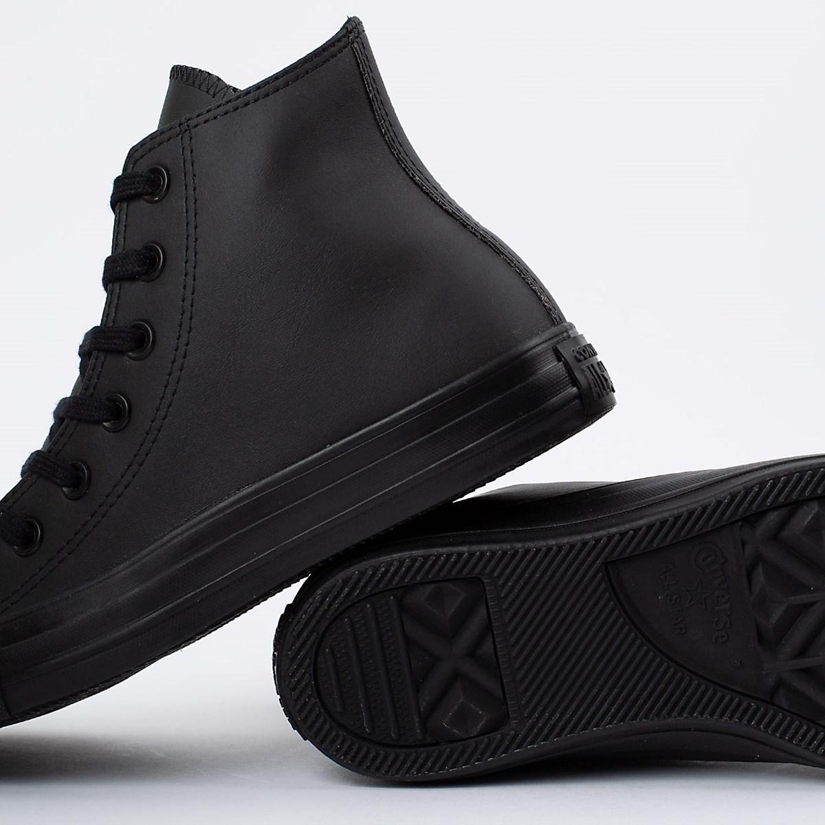 Tênis Converse Chuck Taylor All Star Monochrome Leather Hi Preto Preto CT08250002