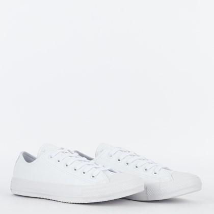 Tênis Converse Chuck Taylor All Star Monochrome Leather Ox Branco Branco CT08260001