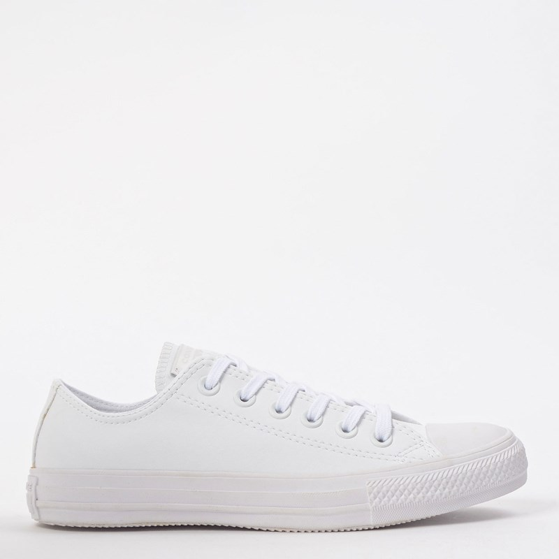 Tênis Converse Chuck Taylor All Star Monochrome Leather Ox Branco Branco CT08260001