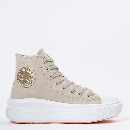 Tênis Converse Chuck Taylor All Star Move Hi Bege Claro Ouro Claro CT16220001