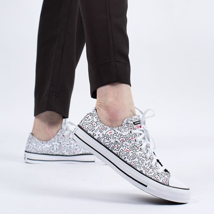 Tênis Converse Chuck Taylor All Star Ox Keith Haring White Black Red 171860C