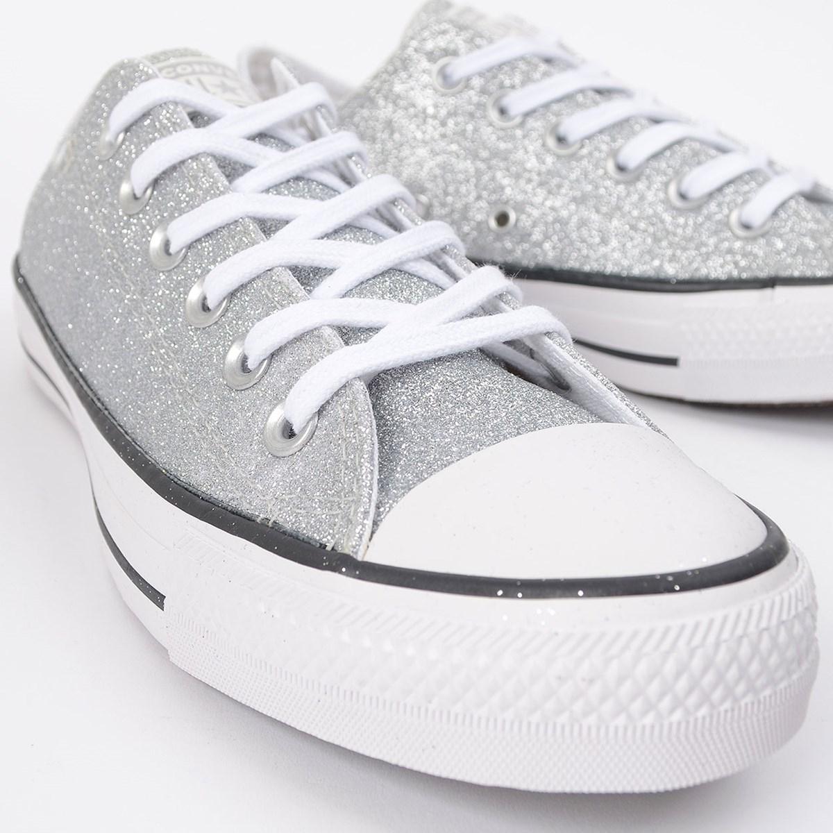 Tênis Converse Chuck Taylor All Star Ox Prata Glitter CT14630001