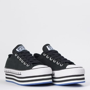 Tênis Converse Chuck Taylor All Star Platform Layer Ox Preto Azul Branco CT13100001