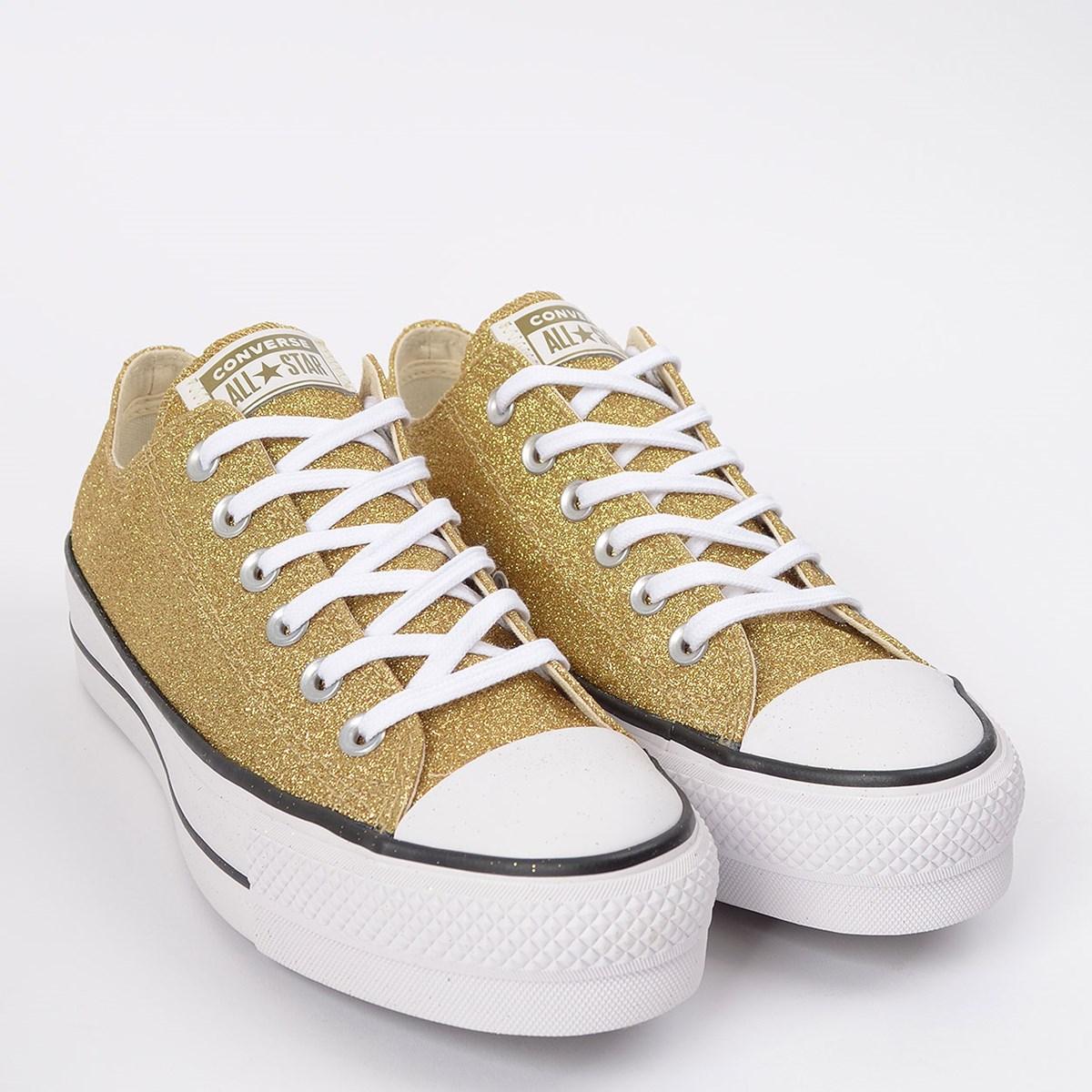 Tênis Converse Chuck Taylor All Star Platform Lift Ox Ouro Glitter CT14640002