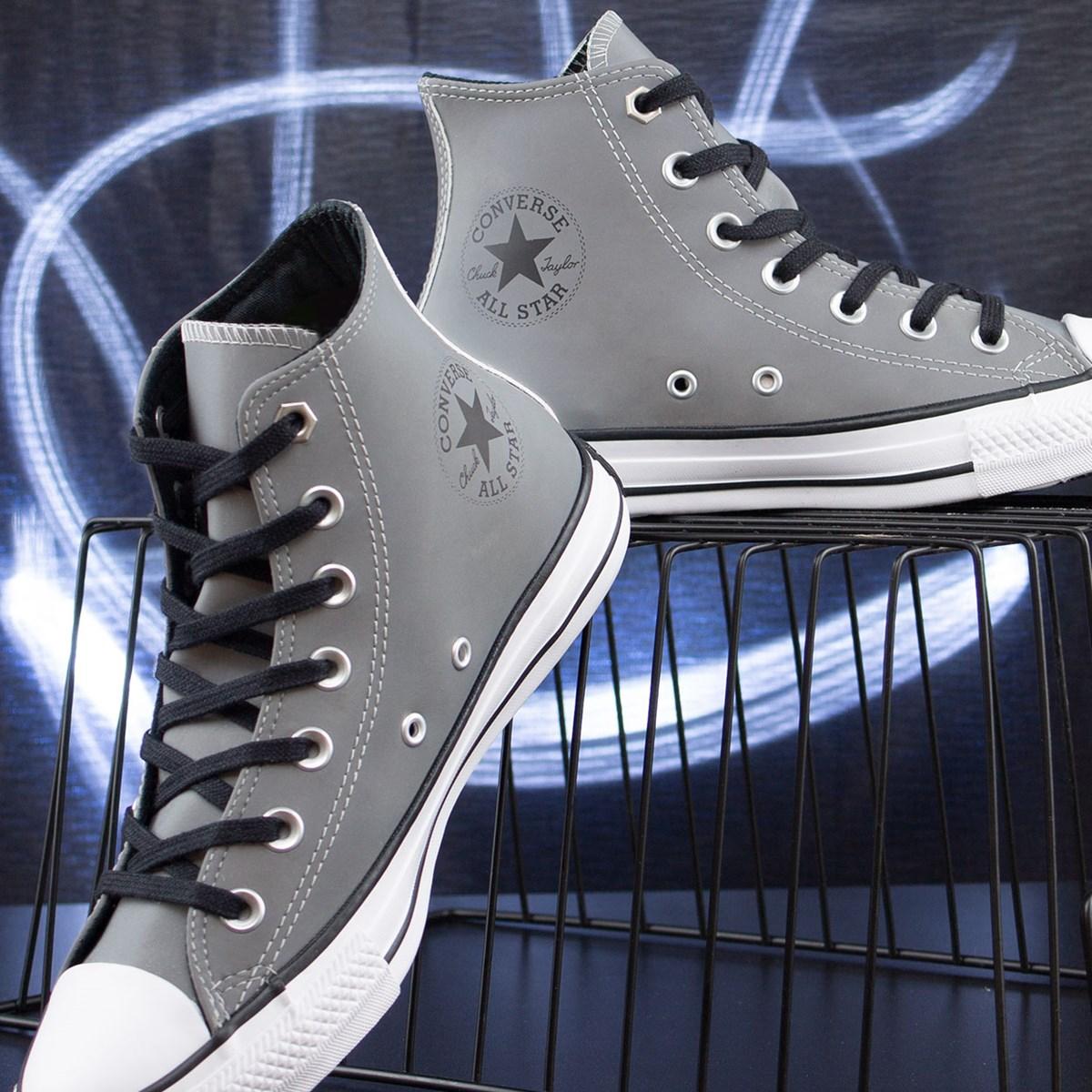 Tênis Converse Chuck Taylor All Star Reflective Hi Cinza Preto CT15570001