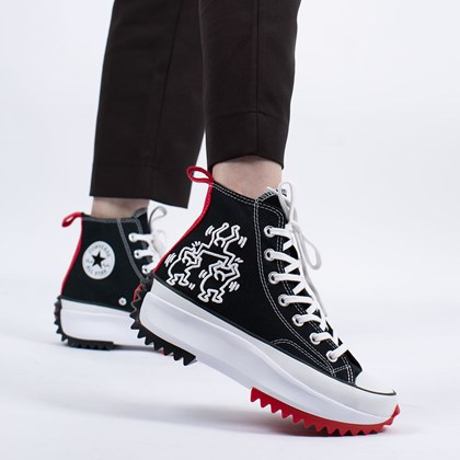 Tênis Converse Run Star Hike Hi Keith Haring Black White Red 171859C