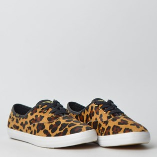 Tênis Keds Champion Animal Print Tan Preto KD178809