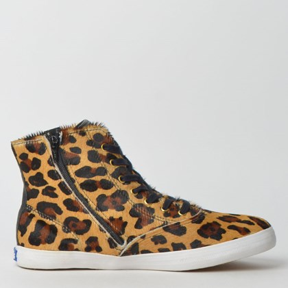 Tênis Keds Champion Hi Zip Animal Print Tan Preto KD1411809