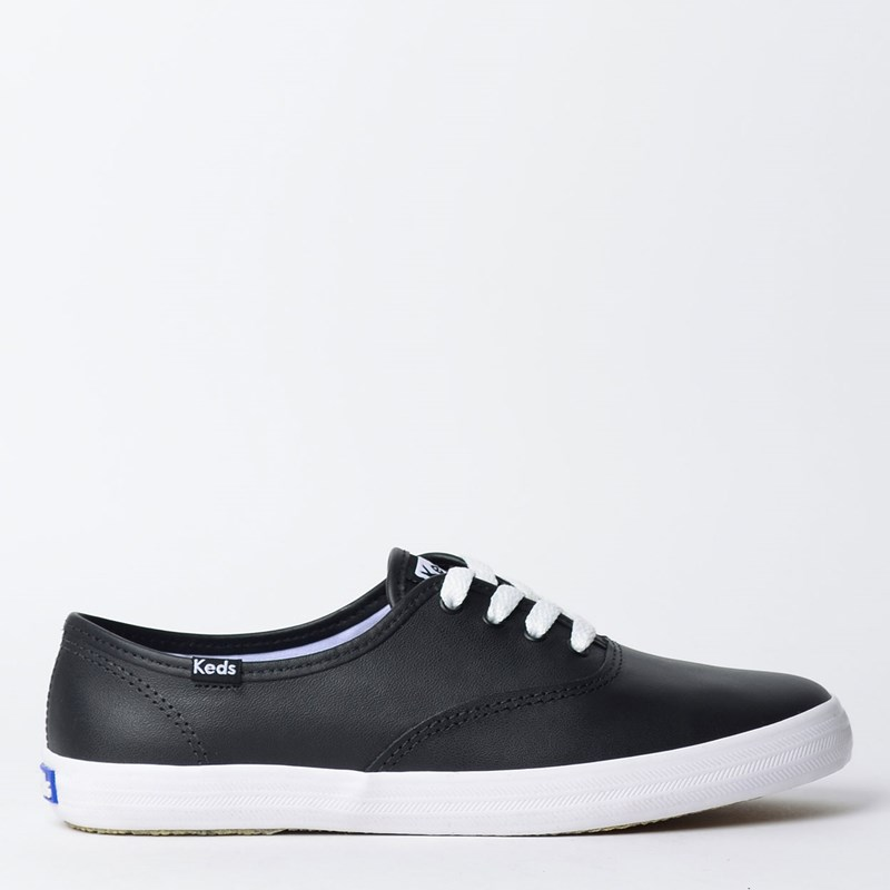 Tênis Keds Champion Woman Leather Preto Branco KD102143
