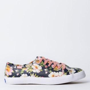 Tênis Keds Kickstart Floral Leather Preto Rosa KD1303672