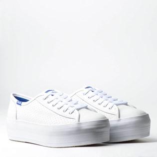 Tênis Keds Plataform Kick Perf Leather Branco Blue KD1402921