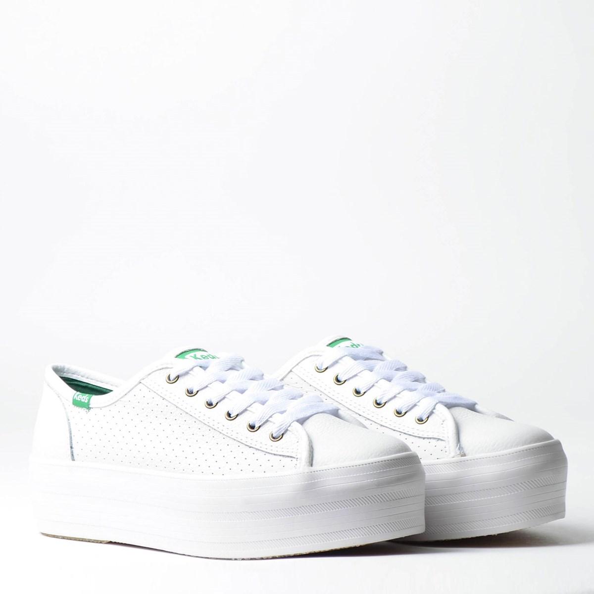 Tênis Keds Plataform Kick Perf Leather Branco Verde KD1402232
