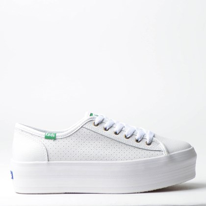 Tênis Keds Plataform Kick Perf Leather Branco Verde KD1402232