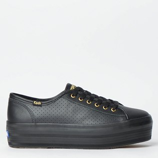 Tênis Keds Plataform Kick Perf Leather Preto KD1402001