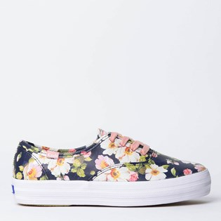 Tênis Keds Triple Floral Leather Preto Rosa KD1304672