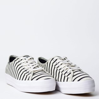 Tênis Keds Triple Kick Stripes Lurex Prata KD1361066