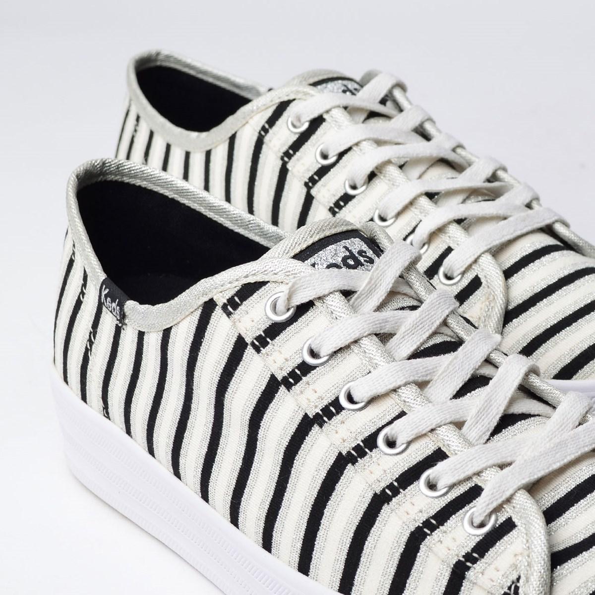 Tênis Keds Triple Kick Stripes Lurex Prata KD1361066