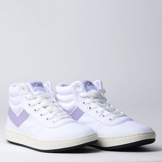 Tênis Pony City Wings Hi SW100 Canvas Branco Lilas PO196267