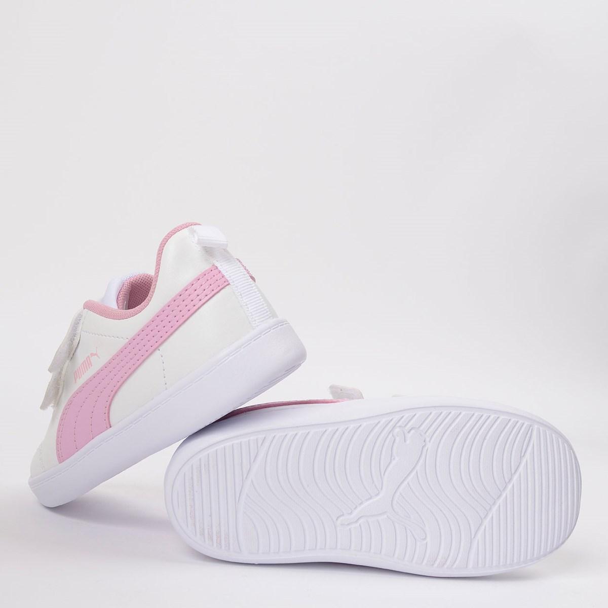 Tênis Puma Kids Courtflex V2 V White Pale Pink 371544-11