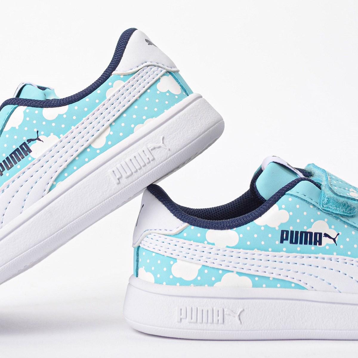 Tênis Puma Kids Smash V2 Cloud V Azul Branco 37119402
