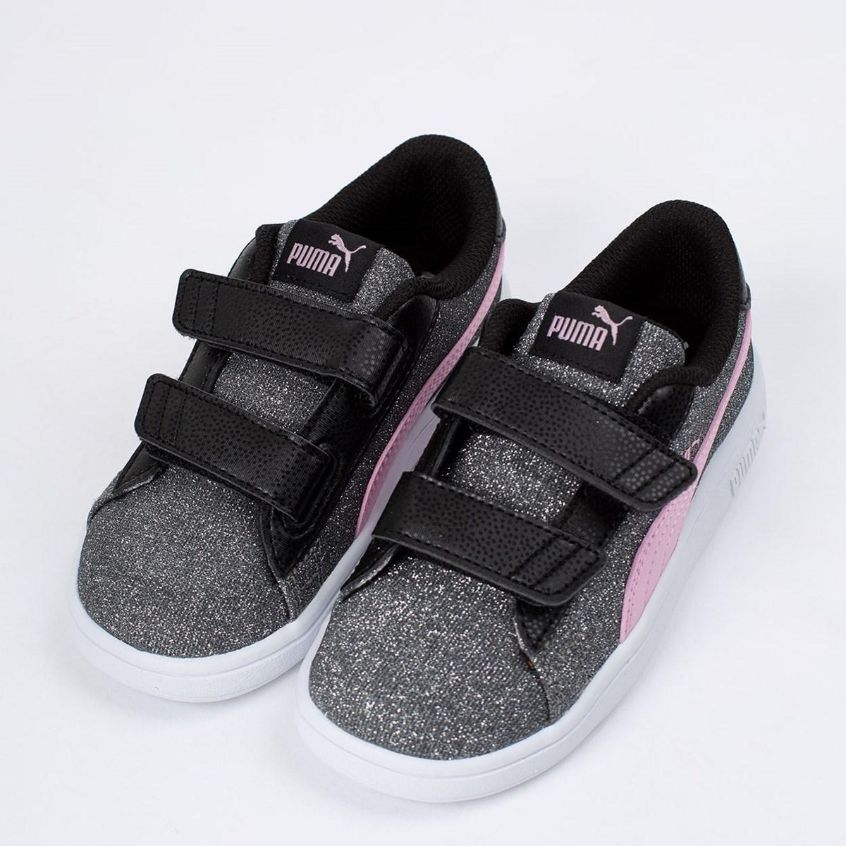 Tênis Puma Kids Smash V2 Glitz Glam V Black Pale Pink 367380-18