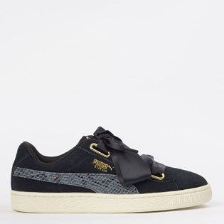 Tênis Puma Suede Heart Snake Lux Wn s Preto Ouro 36994201