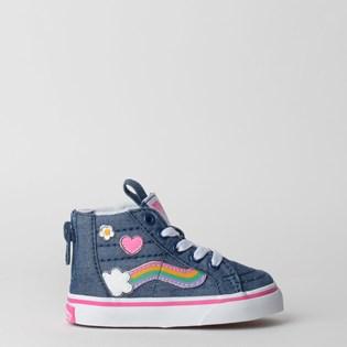 Tênis Vans Baby Sk8 Hi Zip Rainbow Sidestripe Denim True White VN0A4BV1V3U