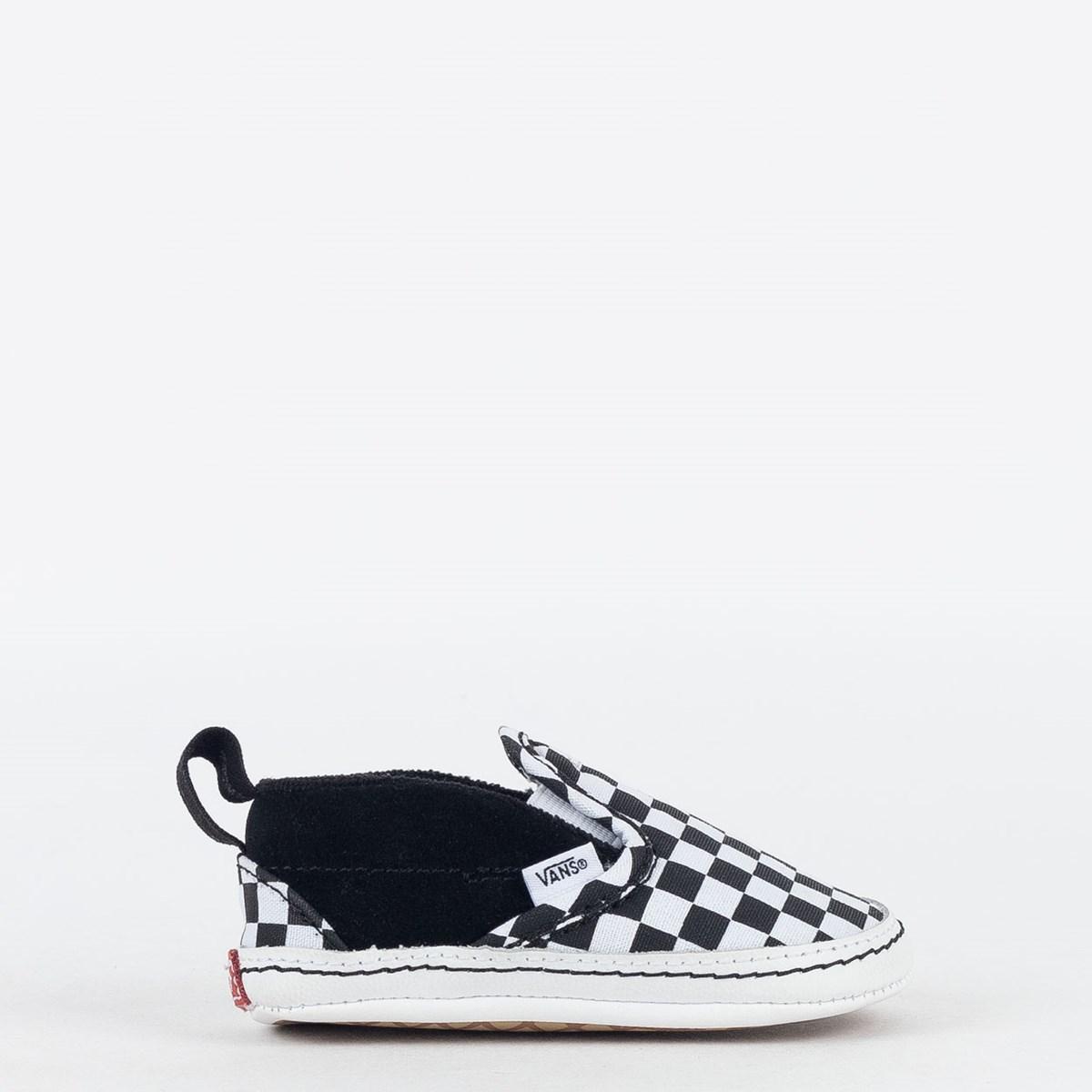 Tênis Vans Baby Slip On V Crib Checker Black True White VN0A2XSLFB7