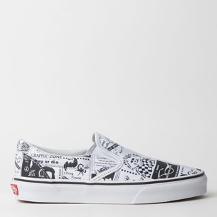 Tênis Vans Classic Slip On Ashley Williams Newspaper True White VN0A38F7SFQP