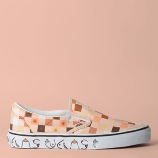 Tênis Vans Classic Slip On Breast Cancer Nude Check True White VN0A4BV3TB3