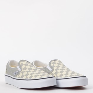 Tênis Vans Classic Slip On Checkerboard Silver True White VN0A4U38WS3