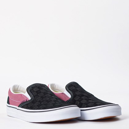 Tênis Vans Classic Slip On Deboss Checkerboard Black Heather Rose VN0A4U38WS5