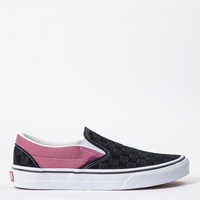 Tênis Vans Classic Slip On Deboss Checkerboard Black Heather Rose VN0A4U38WS5