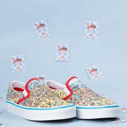 Tênis Vans Classic Slip On Wheres Waldo Find Steve Beach Multi VN0A33TB3WO